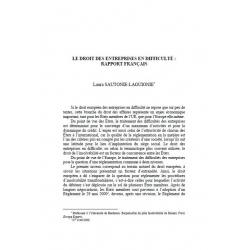 Le droit des entreprises françaises en difficulté : rapport français - SAUTONIE-LAGUIONIE