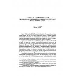 Le droit de la discrimination, ses dimensiotns européenne et internationale et sa mobilisation - MINÉ