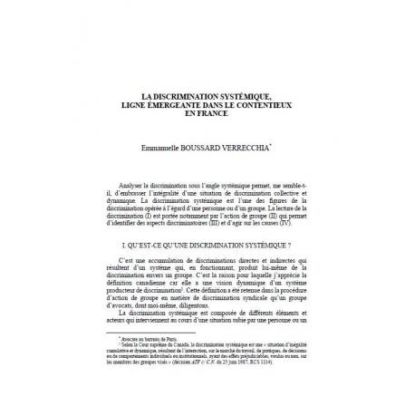 La discrimination systémique, ligne émergeante dans le contentieux en France - BOUSSRAD VERRECCHIA