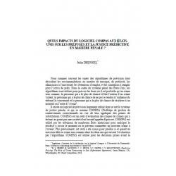 Quels impacts du logiciel Compas aux États-Unis sur les préjugés et la justice prédictive en matière pénale ? - DRESSEL