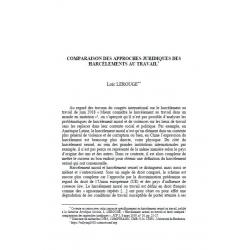 Comparaison des approches juridiques des harcèlements au travail - LEROUGE