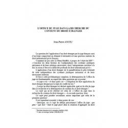 L'office du juge dans la recherche du contenu du droit étranger - ANCEL