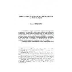 La hiérarchie étrangère des normes devant le juge français - CERQUEIRA