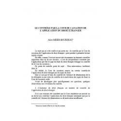 Le contrôle par la Cour de cassation de l'application du droit étranger - MEIER-BOURDEAU