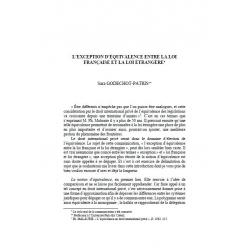 L'exception d'équivalence entre la loi française et la loi étrangère - GODECHOT-PATRIS