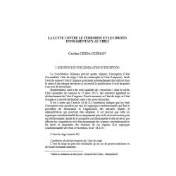 La lutte contre le terrorisme et les droits fondamentaux au Chili - CERDA-GUZMAN