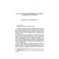La lutte contre le terrorisme et les droits fondamentaux en Italie - PIANA et PERDUCA