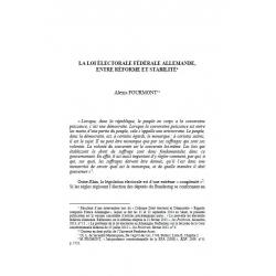 La loi électorale fédérale allemande, entre réforme et stabilité - FOURMONT