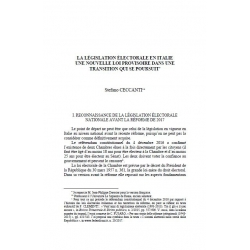 La législation électorale en Italie, une nouvelle loi provisoire dans une transition qui se poursuit - CECCANTI