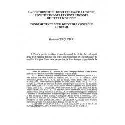 La conformité du droit étranger à l'ordre constitutionnel et conventionnel de l'Etat d'origine (Brésil) - CERQUEIRA