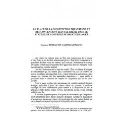 La place de la Constitution brésilienne et des conventions liant le Brésil... - FERRAZ DE CAMPOS MONACO