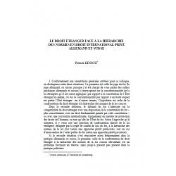 Le droit étranger face à la hiérarchie des normes en droit international privé allemand et suisse - KINSCH