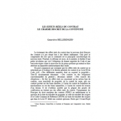 Les effets réels du contrat, le charme discret de la continuité - HELLERINGER
