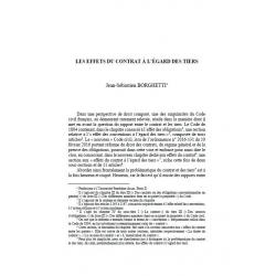 Les effets du contrat à l'égard des tiers - BORGHETTI