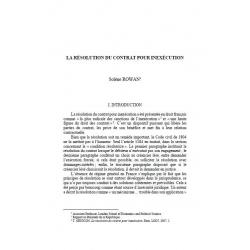 La résolution du contrat pour inéxecution - ROWAN