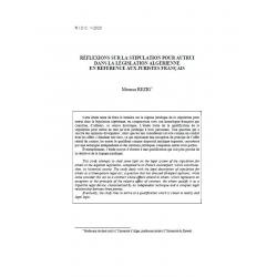 Réflexions sur la stipulation pour autrui dans lalégislation algérienne en référence aux juristes français - REZIG