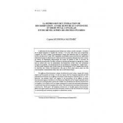 La répression de l'infraction de discrimination : entre rupture et continuité... - MUSHONGA MAYEMBE
