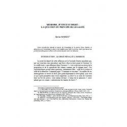 Mémoire, justice et droit : la question du principe de légalité - MARIAT
