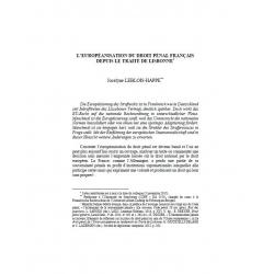 L'européanisation du droit pénal français depuis le traité de Lisbonne - LEBLOIS-HAPPE