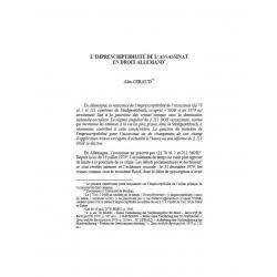 L'imprescriptibilité de l'assassinat en droit allemand - GIRAUD