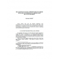 De l'existence et de l'opportunité d'un droit pénal de l'ennemi dans la protection de l'état de droit - JÄGER