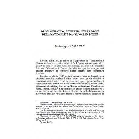 Décolonisation, indépendance et droit de la nationalité dans l'océan indien - BARRIÈRE