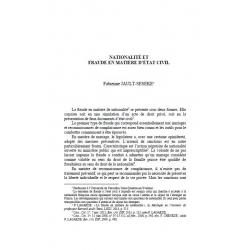 Nationalité et fraude en matière d'état civil - JAULT-SEEKE