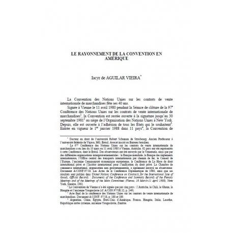 Le rayonnement de la convention en Amérique - AGUILAR VIEIRA