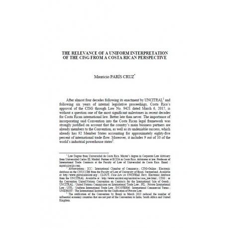 The relevance of a uniform interpretation of the CISG from a Costarican perspective - PARIS CRUZ