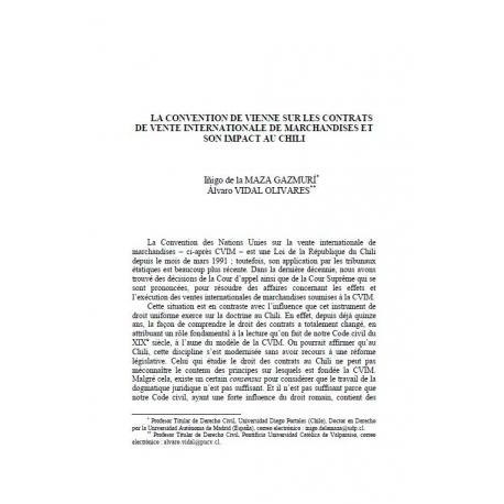 La convention de Vienne sur (...) au Chili - MAZA GAZMURI et VIDAL OLIVARES