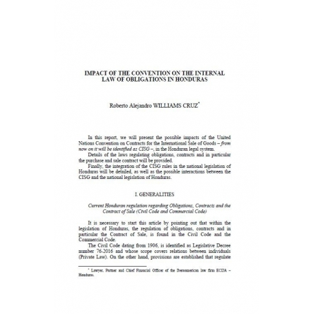 Impact of the convention on the internal oaw of obligations in Honduras - WILLIAMS CRUZ