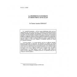 La propriété économique en droit privé sénégalais - NDIOGOU