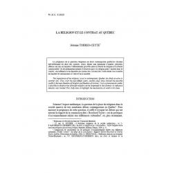 La religion et le contrat au Québec - TORRES-CEYTE