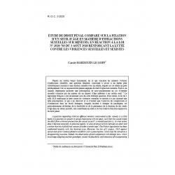 Etude de droit pénal comparé sur la fixation d'un seuil d'âge en matière d'infractions sexuelles... - HARDOUIN-LE GOFF