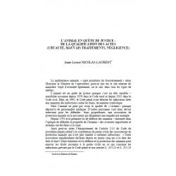 L'animal en quête de justice : de la qualification des actes (cruauté, mauvais traitement, négligence) - NICOLAS-LAURENT