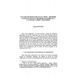 Les lois de police des états tiers : méthode conflictuelle et méthode matérielle... - BONOMI